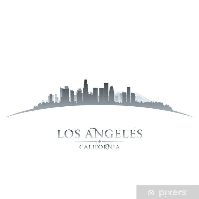 Poster Los Angeles Californie toits de la ville silhouette fond blanc - Amérique