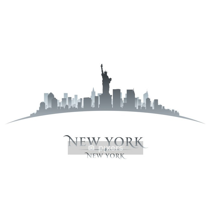 New York city skyline silhouette white background Wall Decal - Wall decals