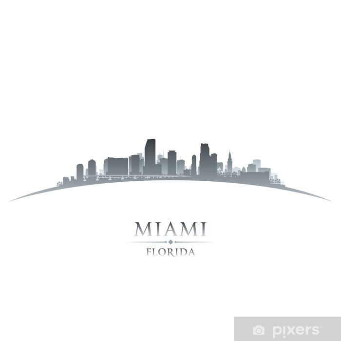Sticker Pixerstick Miami Floride toits de la ville silhouette fond blanc - Amérique