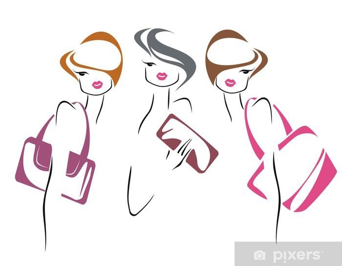 Naklejka Pixerstick Trzy dziewczyny - Moda