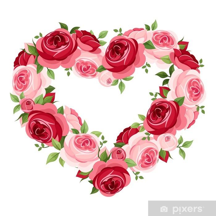 Naklejka Pixerstick Róże serca ramki. Ilustracji wektorowych. - Święta międzynarodowe