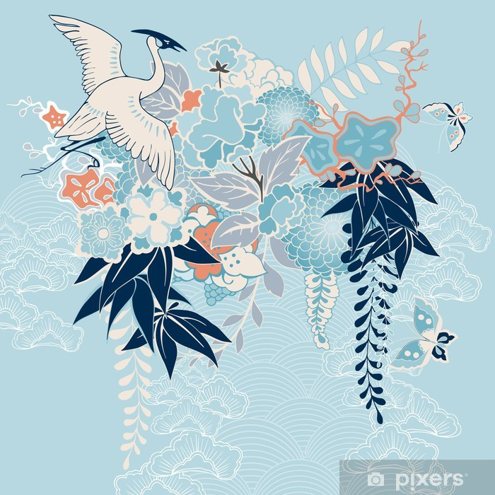 Japanese kimono motif with crane and flowers Framed Poster - Styles