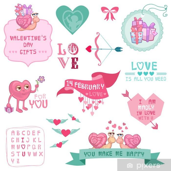 Vinyl-Fototapete Nette Valentinstag und die Liebe Set - für den Valentinstag - Internationale Feste