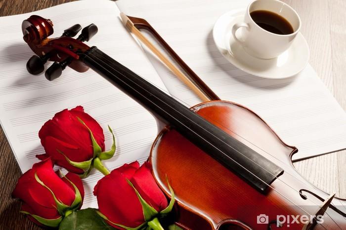 Naklejka Pixerstick Czerwone róże i skrzypce - Muzyka