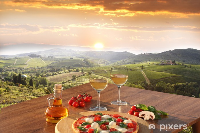 Italian pizza and glasses of white wine in Chianti, Italy Vinyl Wall Mural -