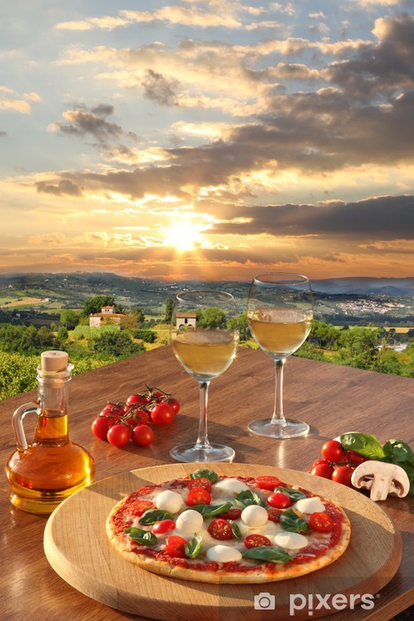 Italian Pizza And Glasses Of White Wine In Chianti Italy Wall