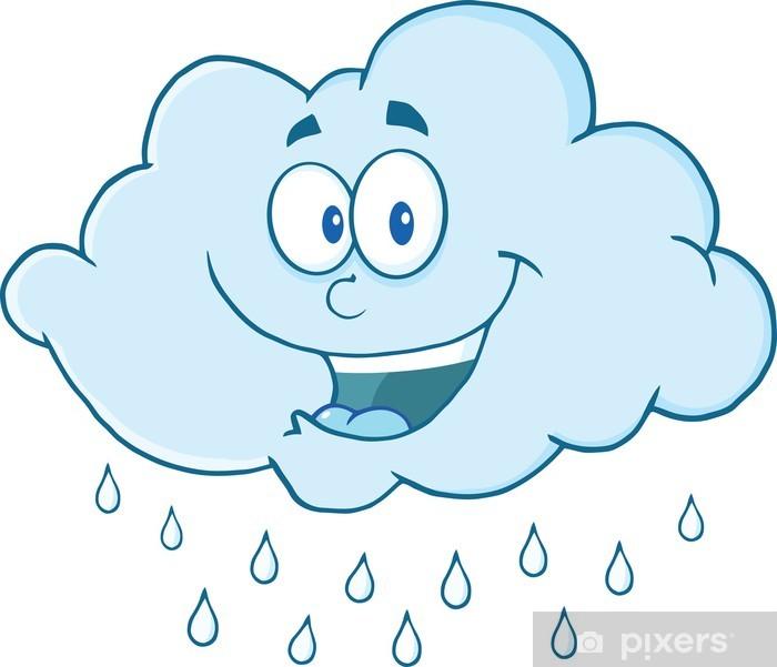 Papier peint Mascotte de dessin animé heureux nuage de ...