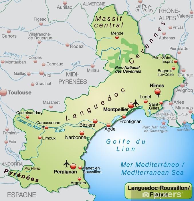 Carte Languedoc Roussillon.Sticker Carte De Languedoc Roussillon Pixers Nous Vivons Pour