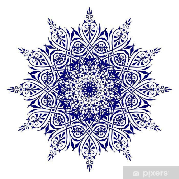 Papier peint vinyle Fleur bleue décoratif avec des motifs ronds vintage. - Sticker mural