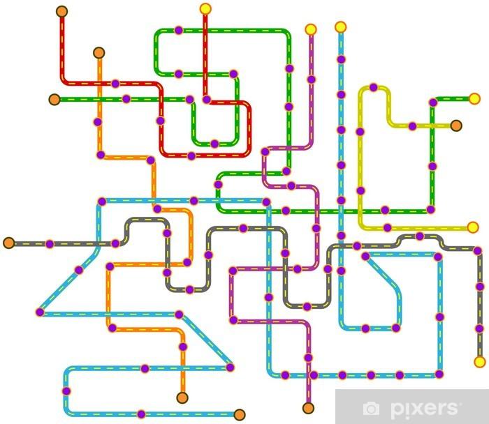 fictional public transport subway map, vector illustration Vinyl Wall Mural - Wall decals