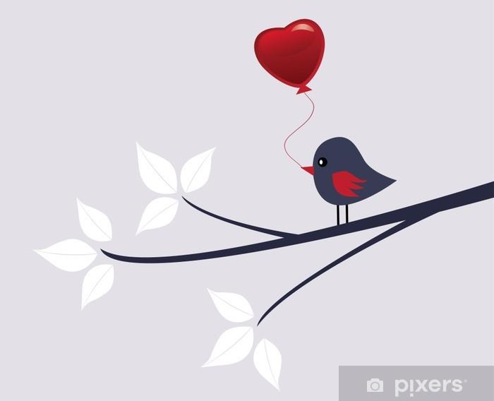 Duvar Resmi Kırmızı Kalp Balon Vektör Kuş Vinil