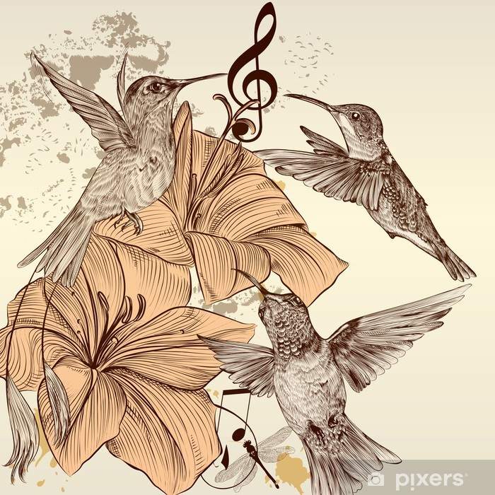 Vintage vector background with birds and flowers Vinyl Wall Mural - Birds