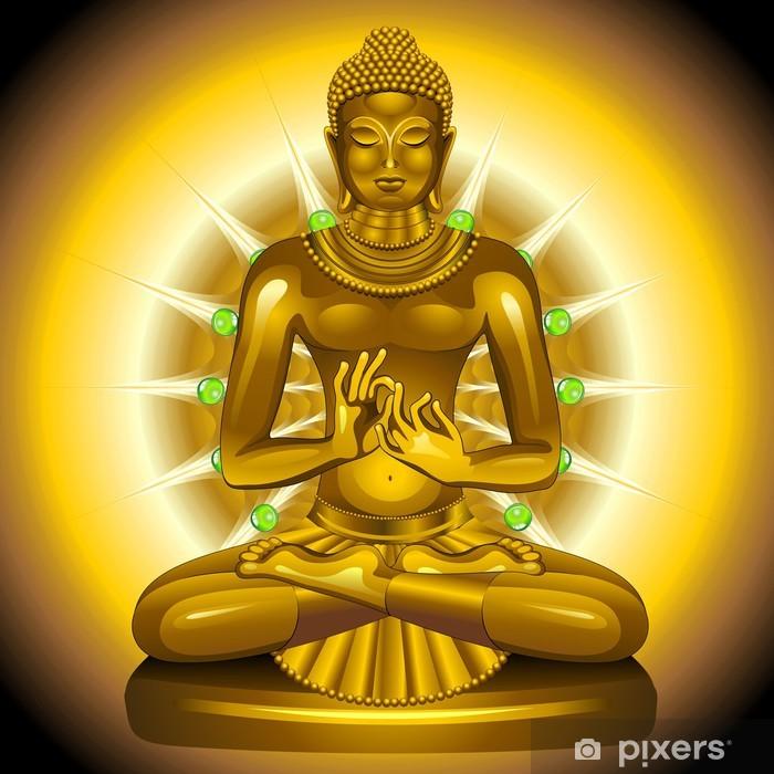 Papier peint vinyle Siddhartha Gautama Bouddha d'or et émeraudes - Thèmes