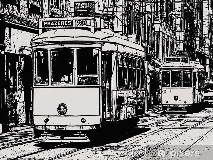 Fototapeta winylowa Szkic tramwaj w Lizbonie - Tematy