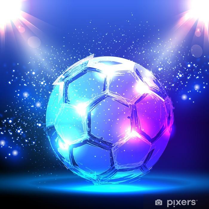 Carta Da Parati Pallone Da Calcio Su Sfondo Blu Riflettori Pixers