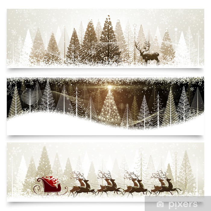 Collection of banners with Christmas landscapes Pixerstick Sticker - International Celebrations