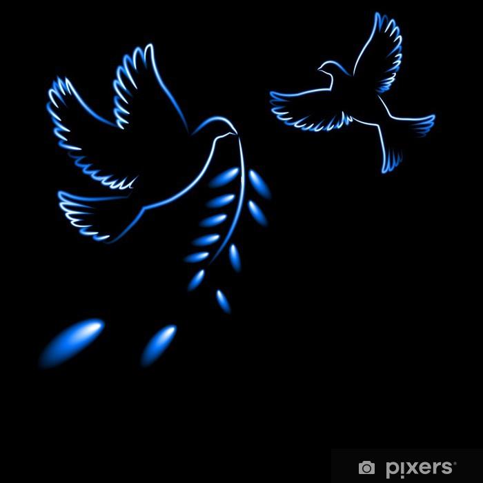 Sticker Pixerstick Pigeons et une branche d'olivier - Paix