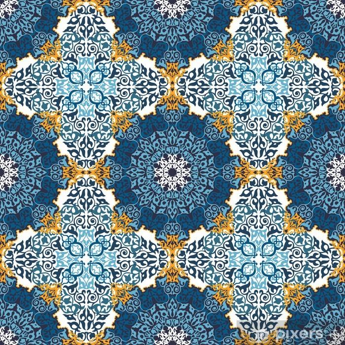 Plakat Powtarzalne deseń w stylu mozaiki etnicznej. - Sztuka i twórczość