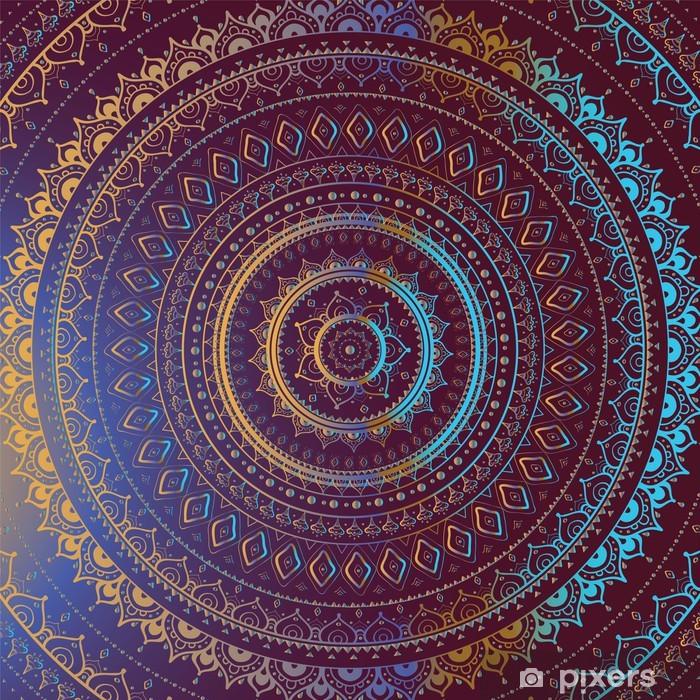 Vinilo Pixerstick Oro Mandala. Patrón decorativo de la India. - Estilos