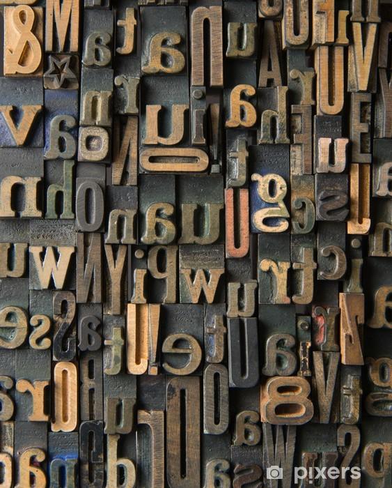 Masa Çıkartması Vintage Ahşap harfler kompozisyon -