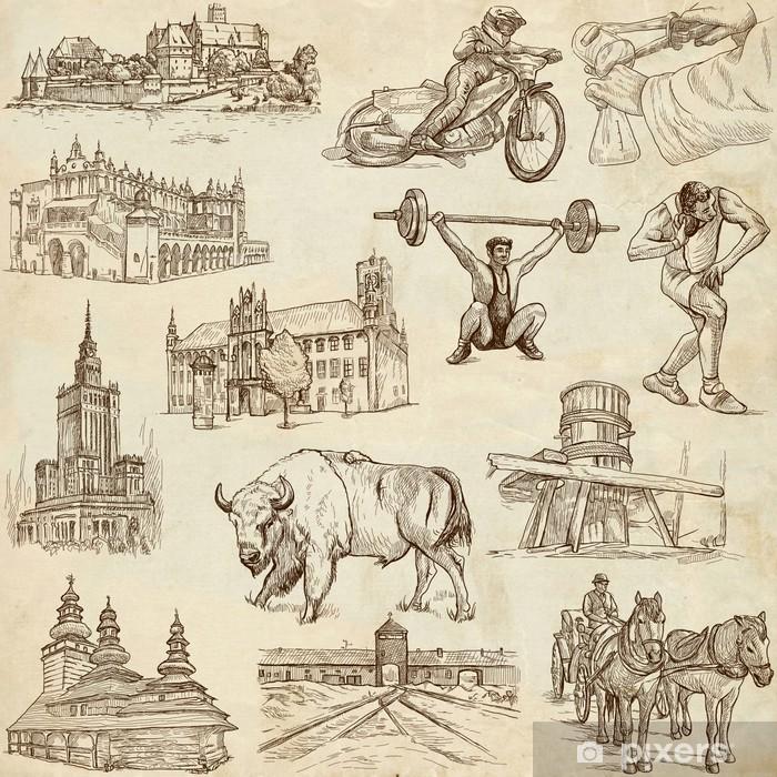 Fototapeta Cestovani Serie Polsko Rucni Kresby Stary Papir