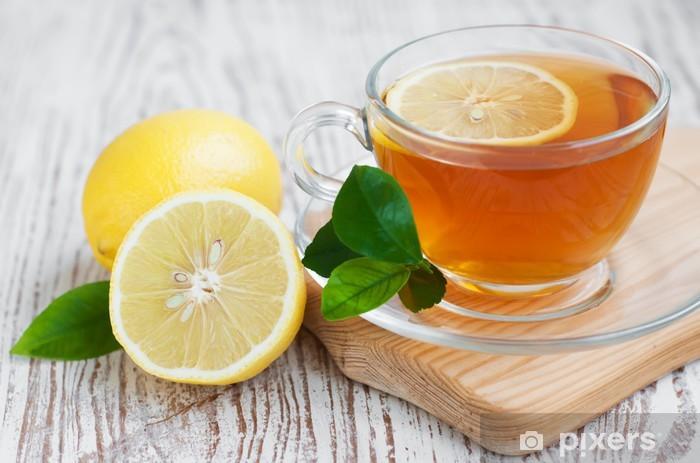 Nálepka Pixerstick Čaj a plátek citronu - Horké nápoje