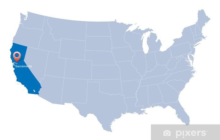 Usa N Kartta Jossa Ilmoitetaan Kalifornian Tila Pixerstick Tarra