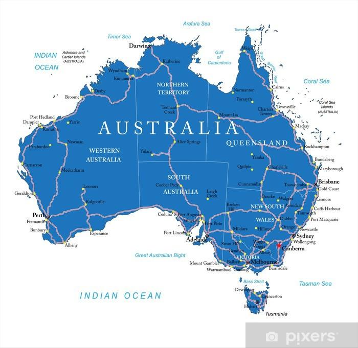 Papier peint lavable Australie feuille de route - Thèmes