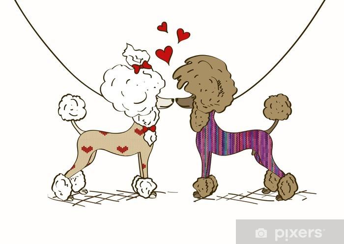 Fototapeta winylowa Ilustracja dwóch kochanków Pudel psów - Szczęście