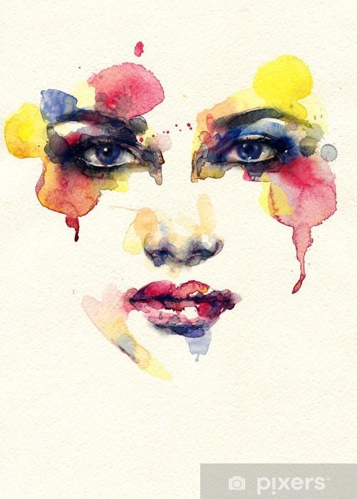 Fototapeta winylowa Piękna twarz kobiety. Akwarele ilustracji - Style