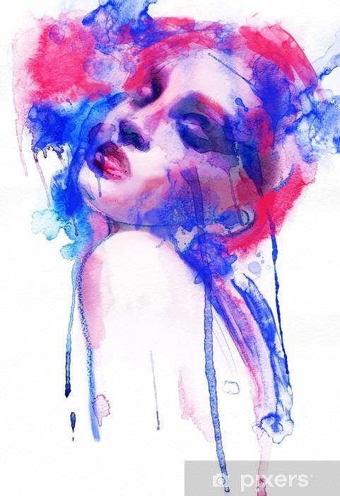 Pixerstick Sticker Mooie vrouw. Hand geschilderde mode-illustratie - Mode