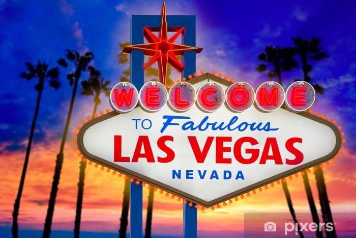 Vinilo Pixerstick Bienvenido fabulosa Las Vegas signo atardecer palmeras Nevada - Las Vegas