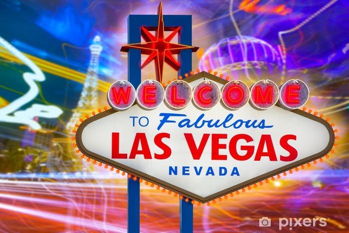 Vinilo Pixerstick Bienvenido a la fabulosa Las Vegas signo de la puesta del sol con la tira - Las Vegas