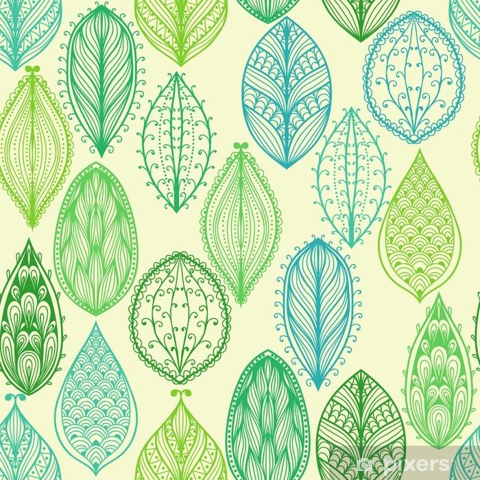 Papier peint vinyle Tiré par la main Seamless vintage avec feuilles fleuries vertes - Styles