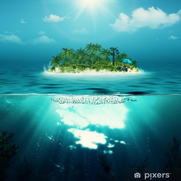 Sticker Pixerstick Seule île dans l'océan, les milieux environnementaux résumé - Îles