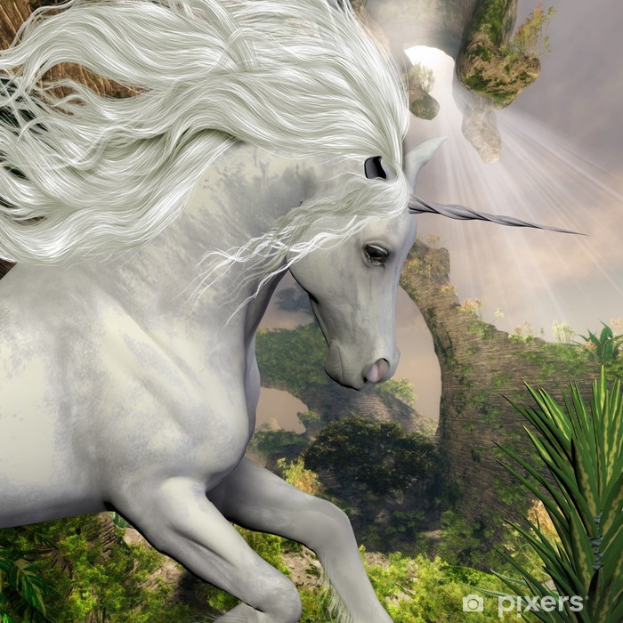 Unicorn and Yucca Plant Vinyl Wall Mural - Themes