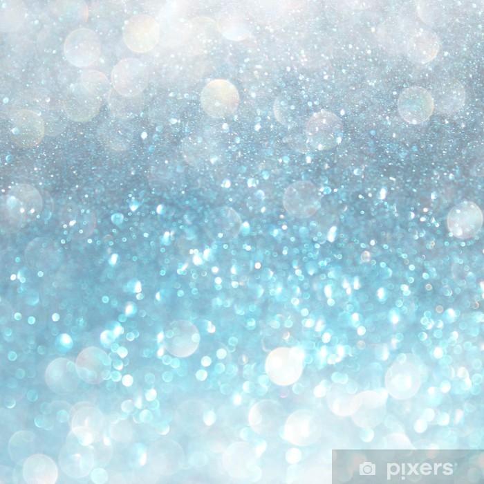 Naklejka Pixerstick Biały niebieski i szary abstrakcyjne światła bokeh. nieostre tło - Style
