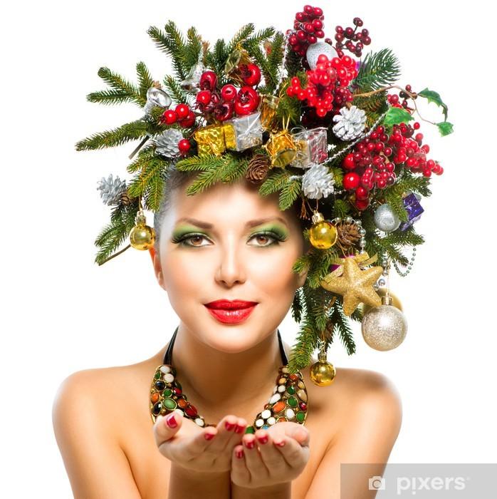 Fototapete Weihnachtsfrau Weihnachtsbaum Feiertags Frisur Und Make