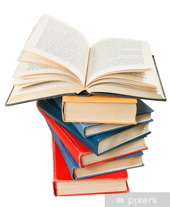 Carta da parati libro aperto in cima alla pila di libri for Carta parati libri