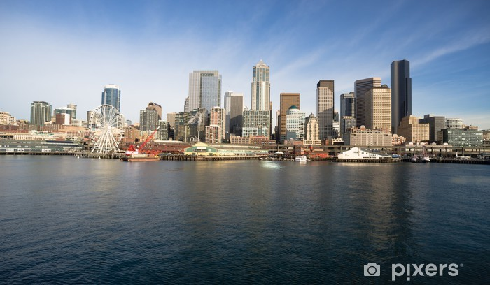 Vinyl-Fototapete Waterfront Piers Dock Gebäude Riesenrad Boote Seattle - Stadt