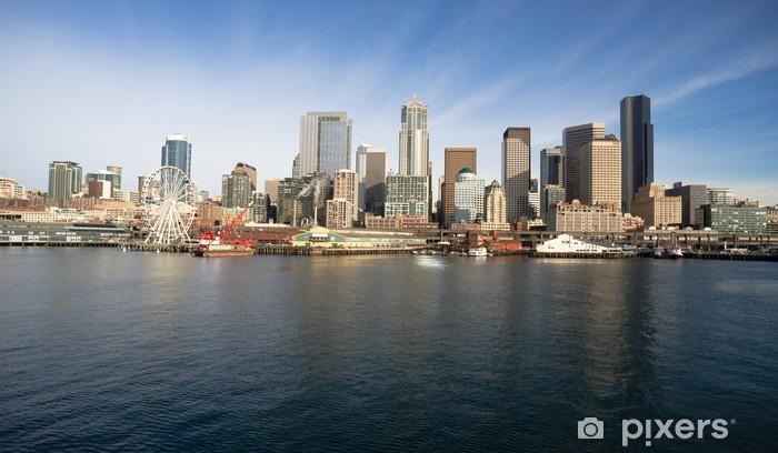 Naklejka Pixerstick Waterfront molo Dock Budynki Ferris Wheel Łodzie Seattle - Pejzaż miejski
