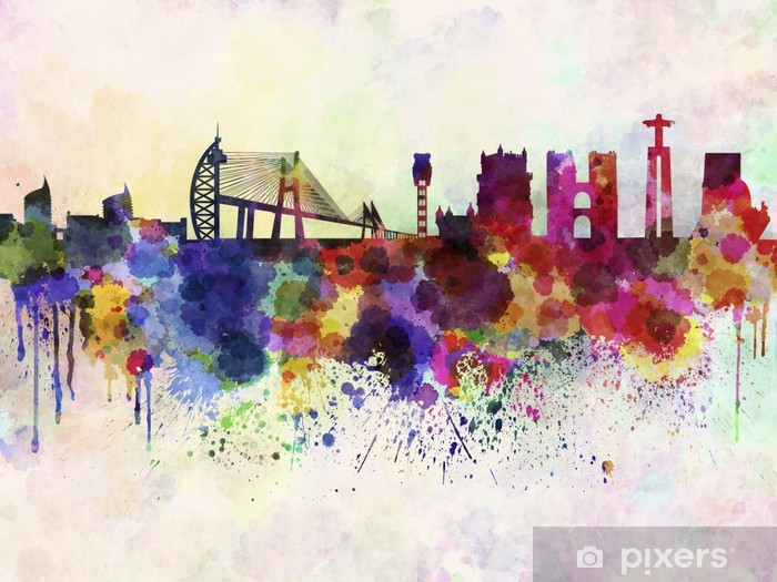 Lisbon skyline in watercolor background Vinyl Wall Mural - Themes