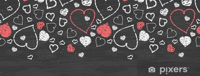 Naklejka Pixerstick Wektor sztuki tablica serca bez szwu wzór poziomy graniczne - Zasoby graficzne