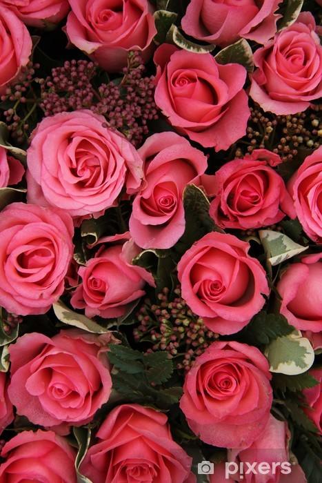 Naklejka Pixerstick Skimmia i różowe róże suknie ślubne układ - Świętowanie