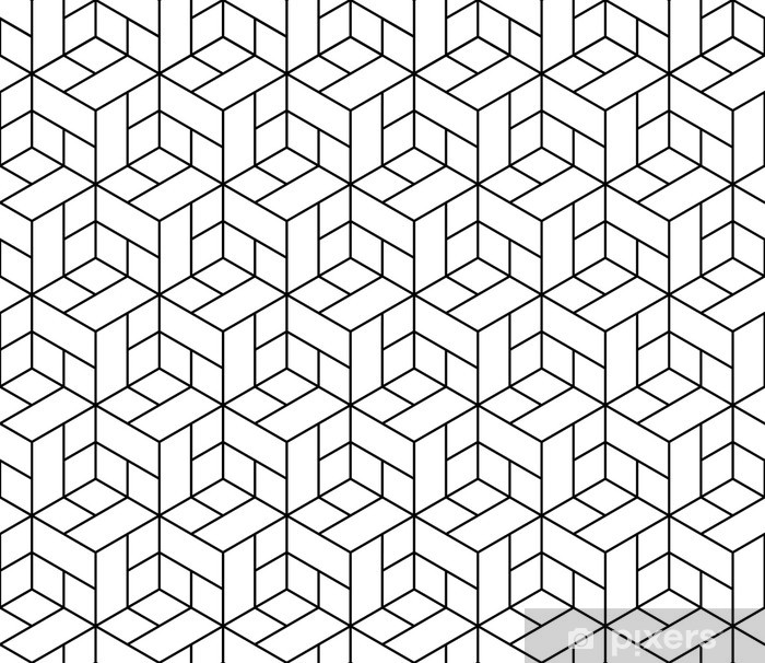 Saumaton geometrinen kuvio kuutioilla. Pixerstick tarra -