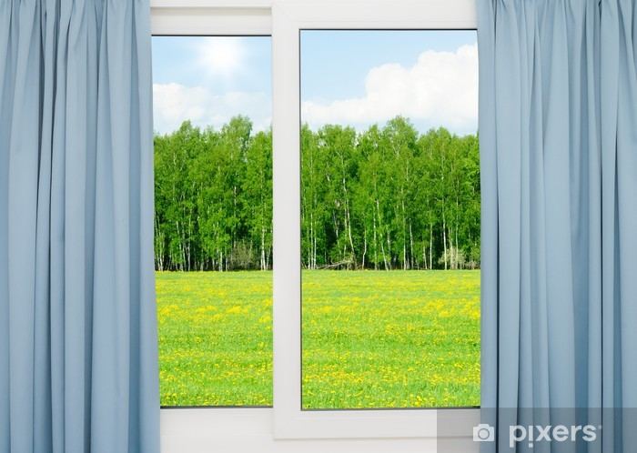 nature landscape with a view through a window Pixerstick Sticker - Themes