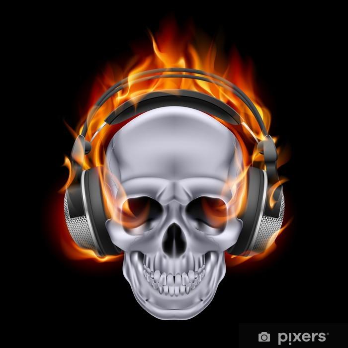 Fototapeta zmywalna Flaming czaszki w słuchawkach. - Przeznaczenia