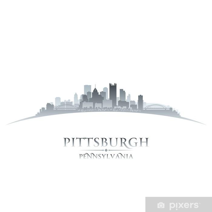 Fototapeta winylowa Pittsburgh Pensylwania panoramę miasta sylwetkę bieli - Ameryka