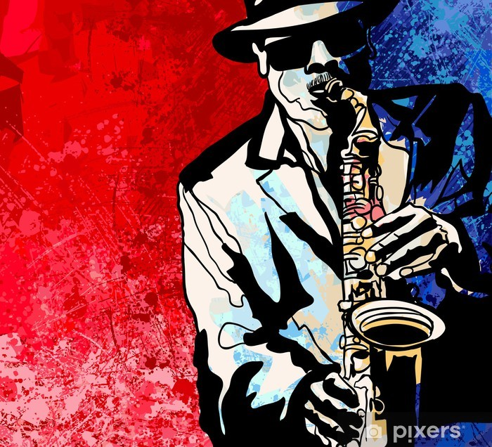 Carta da Parati in Vinile Sassofono giocatore - Jazz
