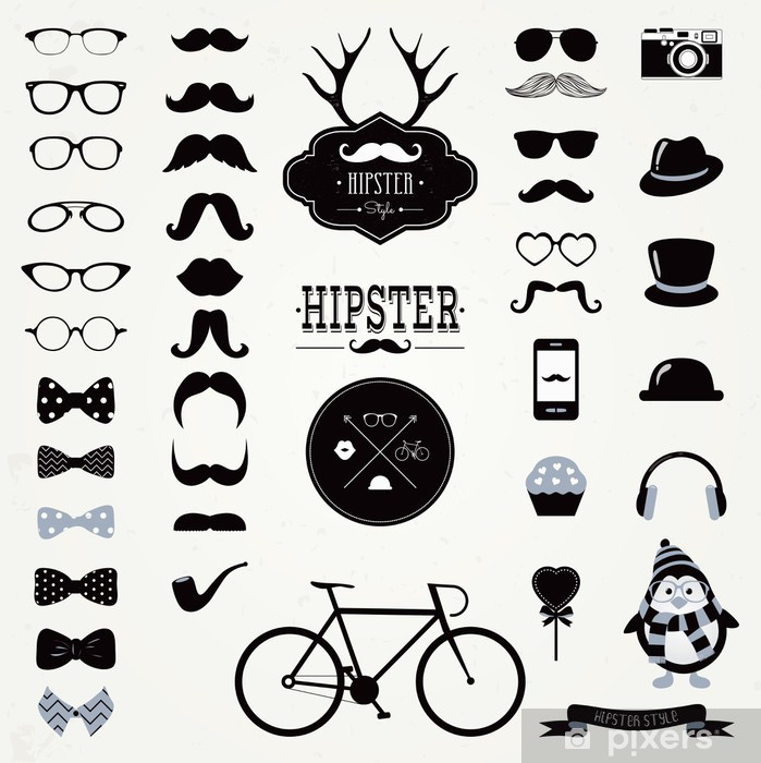 Hipster Black and White Retro Vintage Vector Icon Set Pixerstick Sticker - Moustache